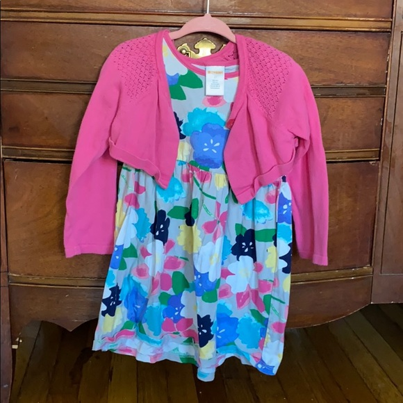 Cotton Floral dress with hot pink cardigan